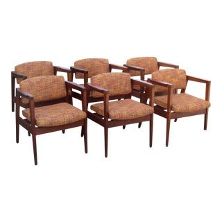 1970s Gunlocke Walnut Lounge Chairs - Set of 6