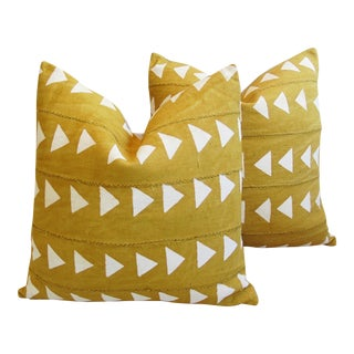 Gold & Cream Boho Chic African Mali Mud Cloth Tribal Textile Pillows - Pair