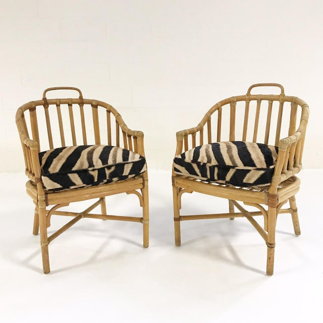 Forsyth Rattan Armchairs with Custom Zebra Hide Cushions - A Pair - Image 2 of 7