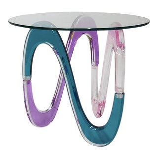 Haziza Memphis Style Multi-Colored Lucite Side Table