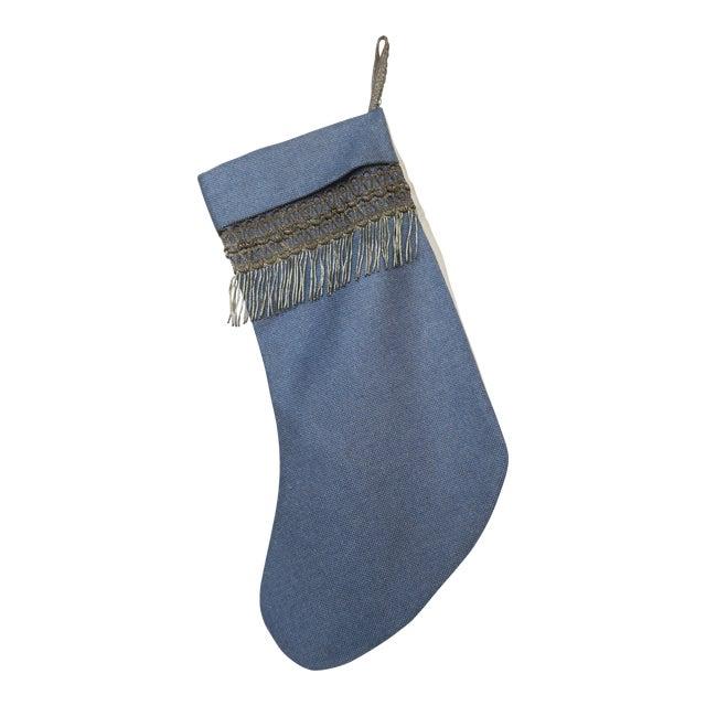 19th C. Metallic Fringe on Blue Linen Stocking. - Image 1 of 3