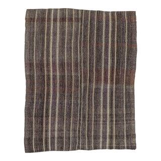 Vintage Turkish Kilim Striped Rug - 6′ × 7′8″
