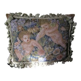Vintage Petit Point Cherub Throw Pillow