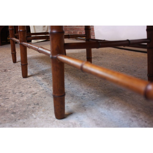 Mid-20th Century Faux-Bamboo Settee Bench in Cherrywood - Image 10 of 11