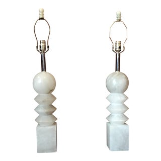 Mid Century Modern Alabaster and Chrome Table Lamps - a Pair