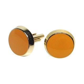 Yellow Glass Round Cufflinks
