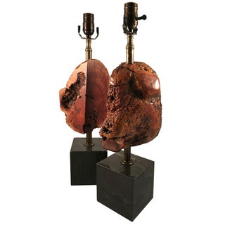 Burl Knot & Marble Cube Lamps - Pair
