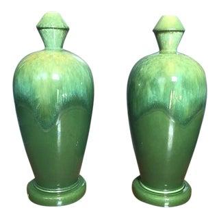 Vintage Drip Glaze Green Urns - A Pair