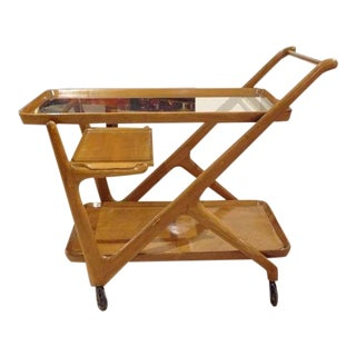 Mid-Century Bar Cart in Walnut and Glass by Cesare Lacca, Italy circa 1952