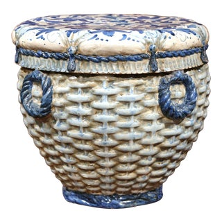 19th Century French Hand-Painted Faience Round Garden Seat with Weave Design