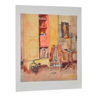 Dorothy Lizette Eisenbach Interior Still Life Watercolor c.1926