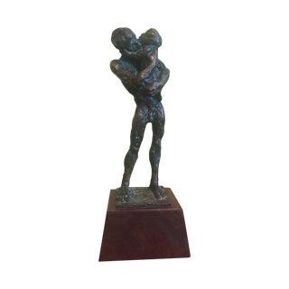 Brutalist Bronze Sculpture, Man Holding Child