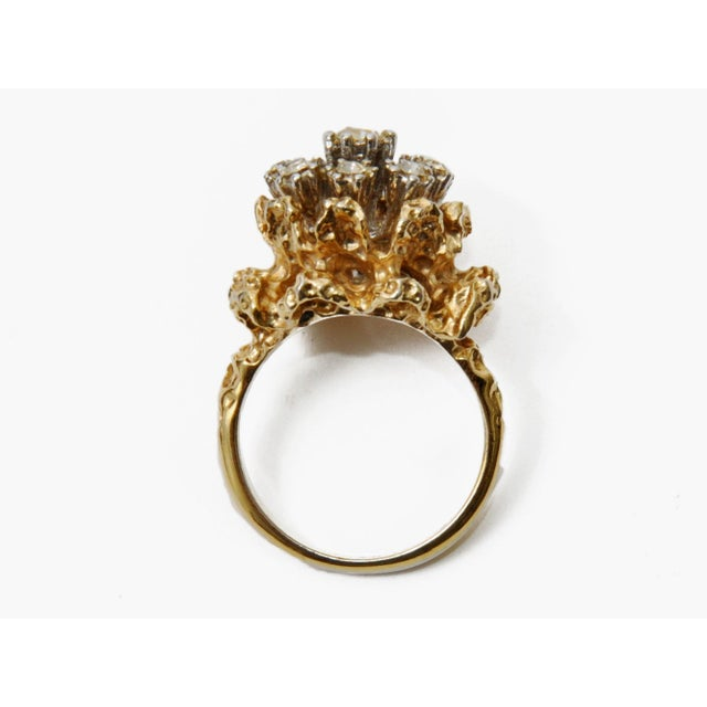 Image of Vintage Floral Rhinestone Cocktail Ring