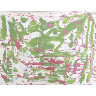 Suga Lane - Green Abstract Panting on Vintage Paper
