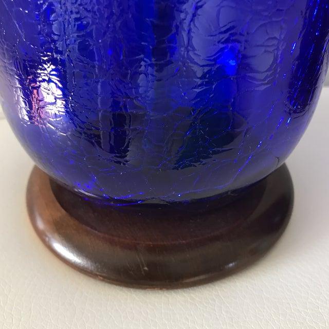 Blenko Mid-Century Cobalt Crackle Lamps - A Pair - Image 8 of 8