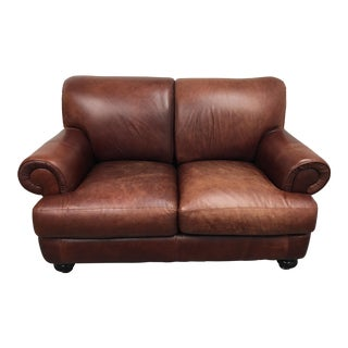 Pottery Barn Brown Leather Loveseat