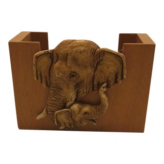 Wooden Elephant Motif Napkin Holder