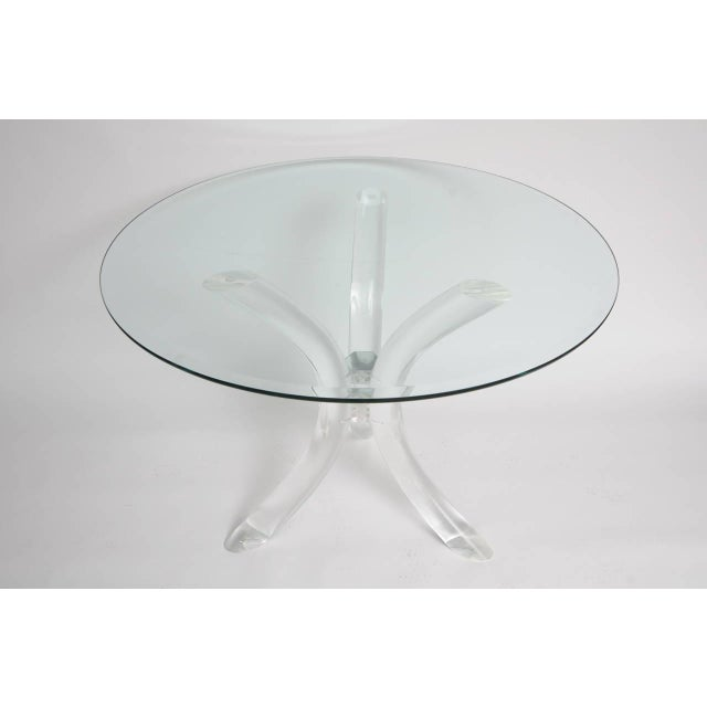 Thick Tube Lucite Table Base and Glass Top - Image 6 of 9