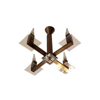 Brass French Cubist Pendant