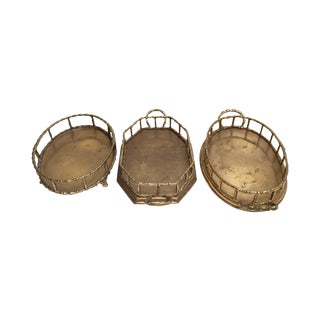 Vintage Brass Faux Bamboo Vanity Trays - Set of 3