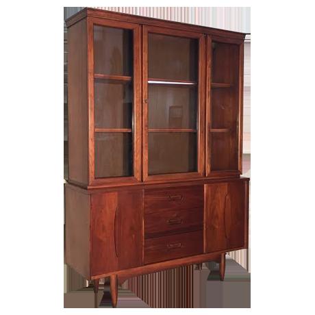 garrison walnut midcentury modern china cabinet