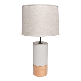 Oak and Ceramic Table Lamp by Stone and Sawyer