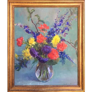 Vintage Floral Still Life By Ruth Stone in Gilt Frame