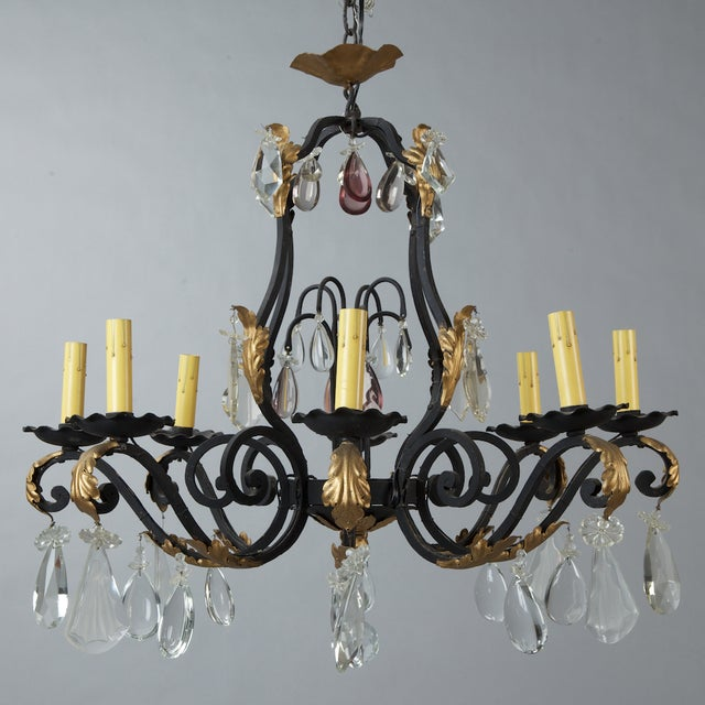 French Eight Light Iron Gilt & Crystal Chandelier - Image 2 of 6