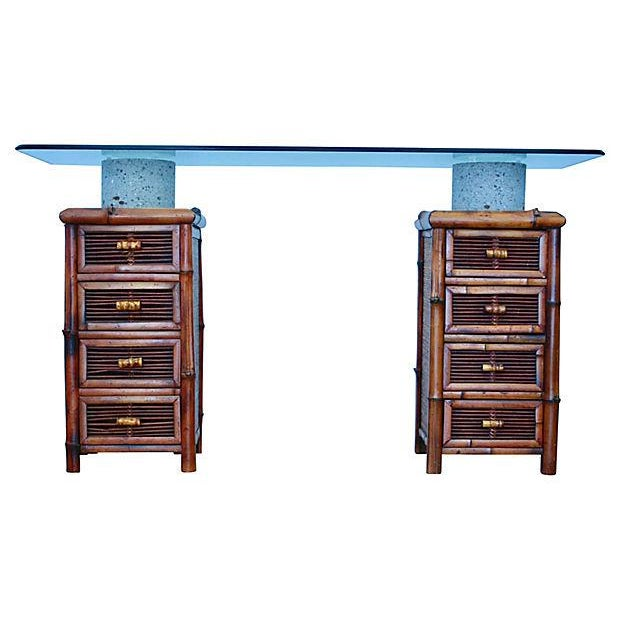 Bamboo, Glass & Concrete Console Table - Image 3 of 10