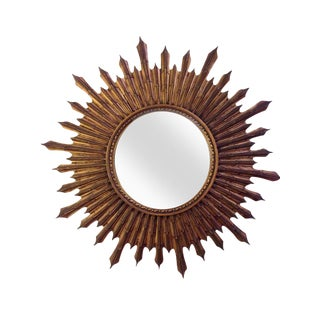 Large Wood Convex Starburst Mirror