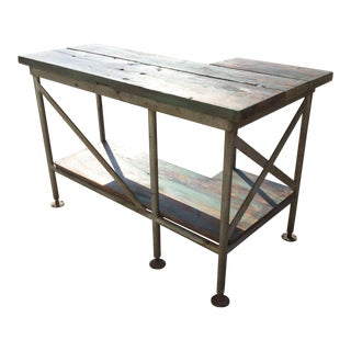 Green Distressed Industrial Table