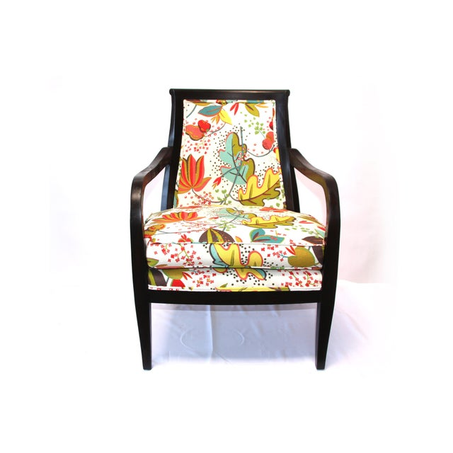 Floral Upholstered Wood Armchair - Image 2 of 3
