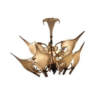 Brass & Case Glass Petal Chandelier