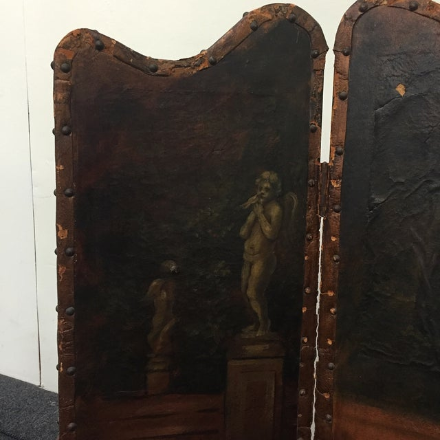 Antique Painted Fireplace Screen - Image 6 of 9