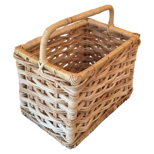 Rectangular Wicker Baskets With Handles : Rectangular wicker basket with handle chairish