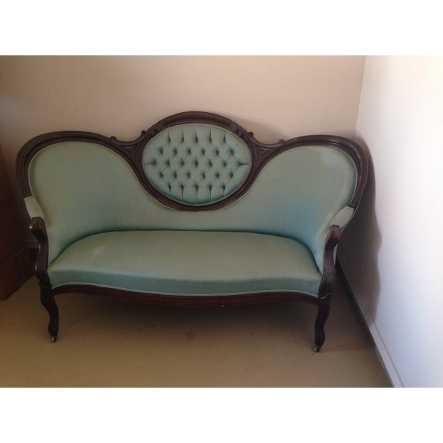 Antique Victorian Tufted Walnut Settee - Image 2 of 3