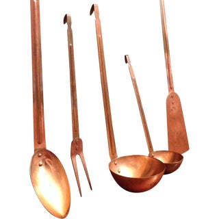 Vintage Copper Kitchen Utensils - Set of 5