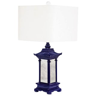 Indigo Blue/Antique Mirror Pagoda Lamp w/ Linen Shade