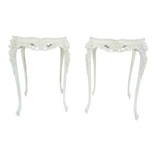 Cherub Carved Side Tables - A Pair