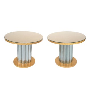 Deco Style Round Chrome & Sycamore Side Tables - A Pair