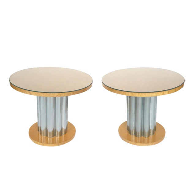 Deco Style Round Chrome & Sycamore Side Tables - A Pair - Image 1 of 10