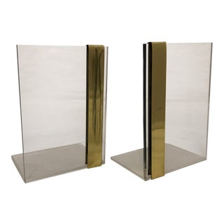 Vintage Lucite & Striped Brass Bookends - a Pair