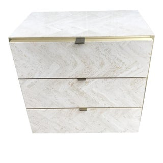 Ello Travertine and Brass Side Table