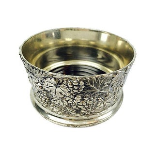 Silverplate & Wood Bottle Coaster