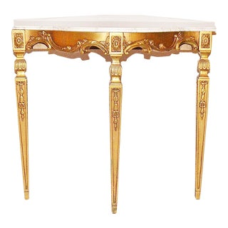 Neoclassical Marble Top Giltwood Console Table