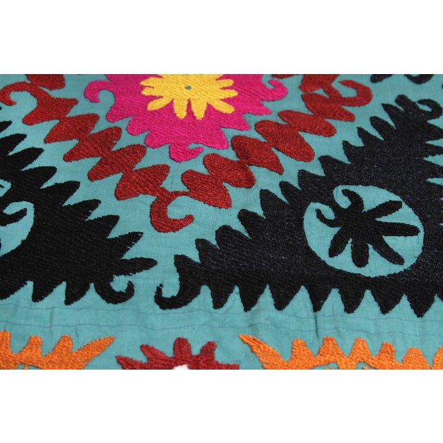 Vintage Teal Suzani Tapestry - Image 3 of 4