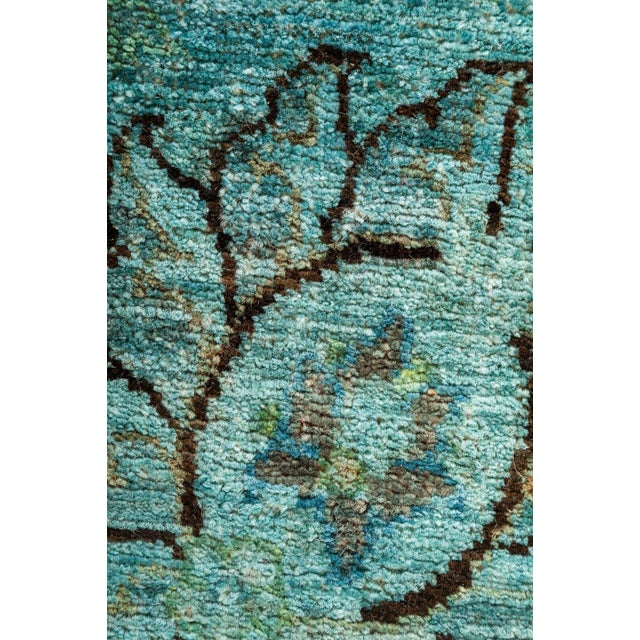 Vibrance, Hand Knotted Teal Floral Wool Area Rug