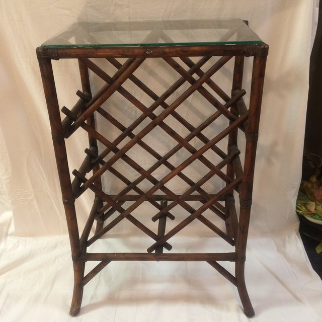 Vintage Rattan Glass Top Wine Rack Chairish