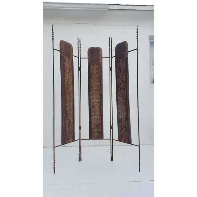 Vintage Metal & Carved Wood Panels Room Divider Screen - Image 2 of 9