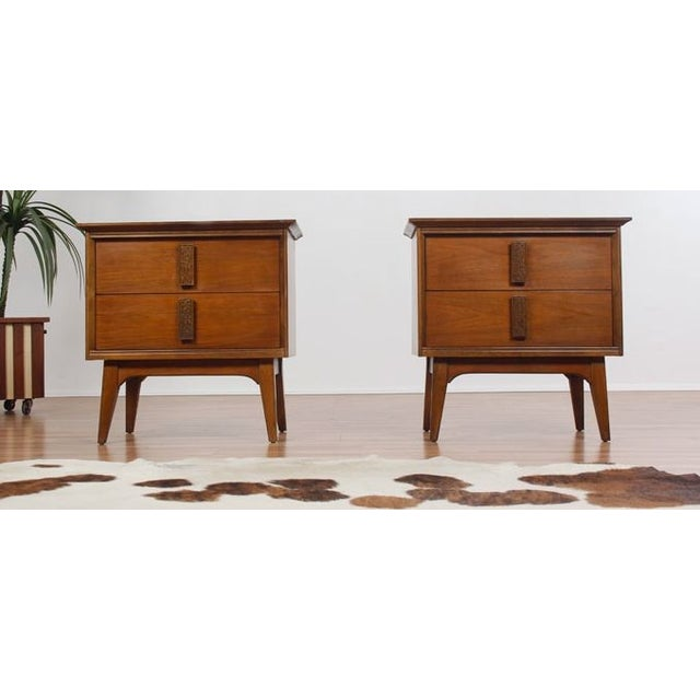 Bassett Furniture Atlanta: Vintage Bassett Mayan Nightstands - A Pair